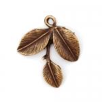 300571 Подвеска веточка с листочками, античная бронза
