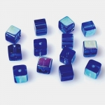 Бусины кубические, № 02 сапфир, 6х6 мм (50 шт.)