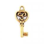 300623 Подвеска 'Ключ', античное золото