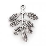 300633 Подвеска-коннектор, веточка листьями, античное серебро